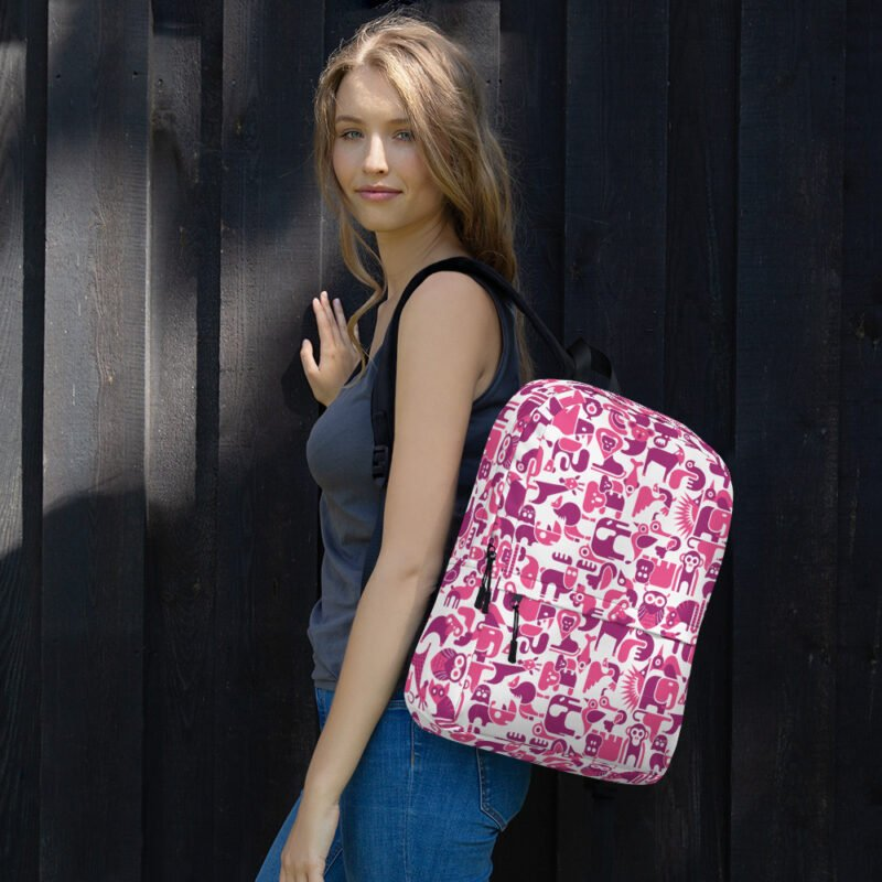 Cute Animal Purple and White Backpack 3