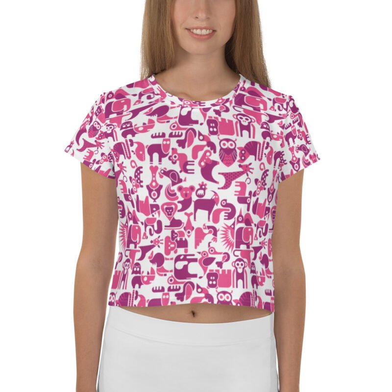 Cute Animal Purple and White All-Over Crop Tee 1