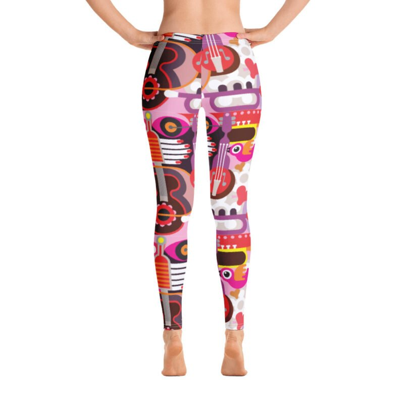 Abstract Musical Maximalism All-Over Leggings 3