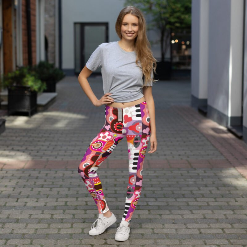 Abstract Musical Maximalism All-Over Leggings 2