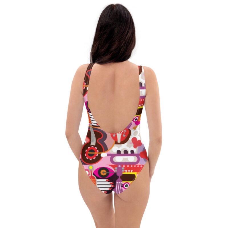 Abstract Musical Maximalism One-Piece Swimsuit 4