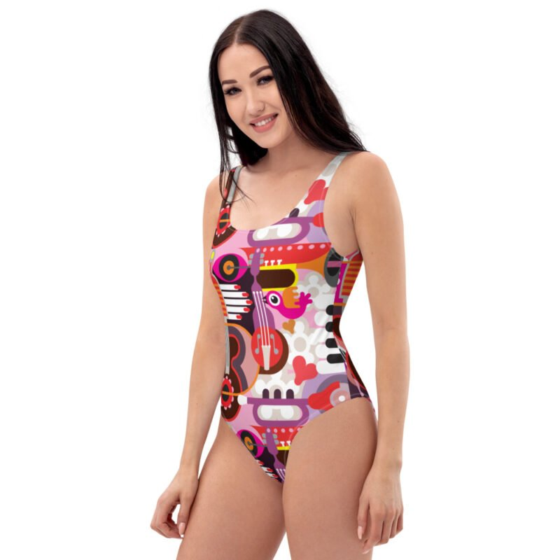 Abstract Musical Maximalism One-Piece Swimsuit 3