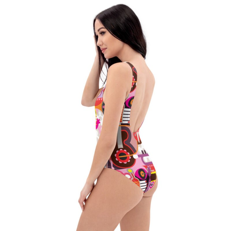 Abstract Musical Maximalism One-Piece Swimsuit 5