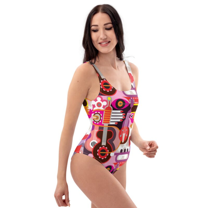 Abstract Musical Maximalism One-Piece Swimsuit 2