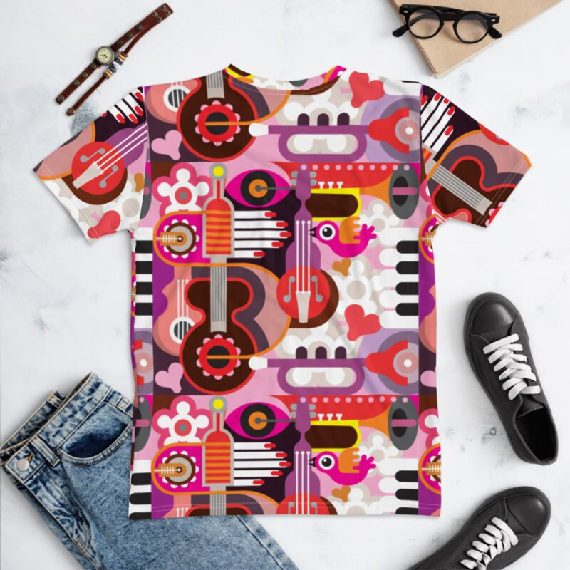 Abstract Musical Maximalism All-Over Pinted Women's T-shirt back