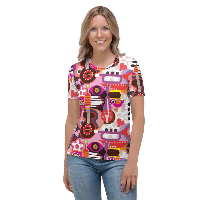 Abstract Musical Maximalism All-Over Pinted Women's T-shirt