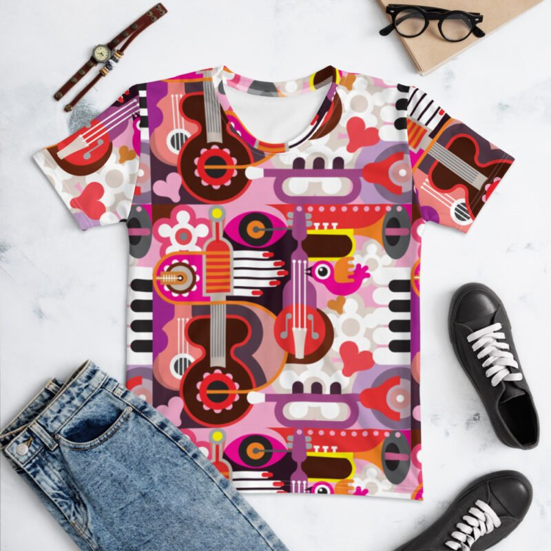 Abstract Musical Maximalism All-Over Pinted Women's T-shirt wtevv