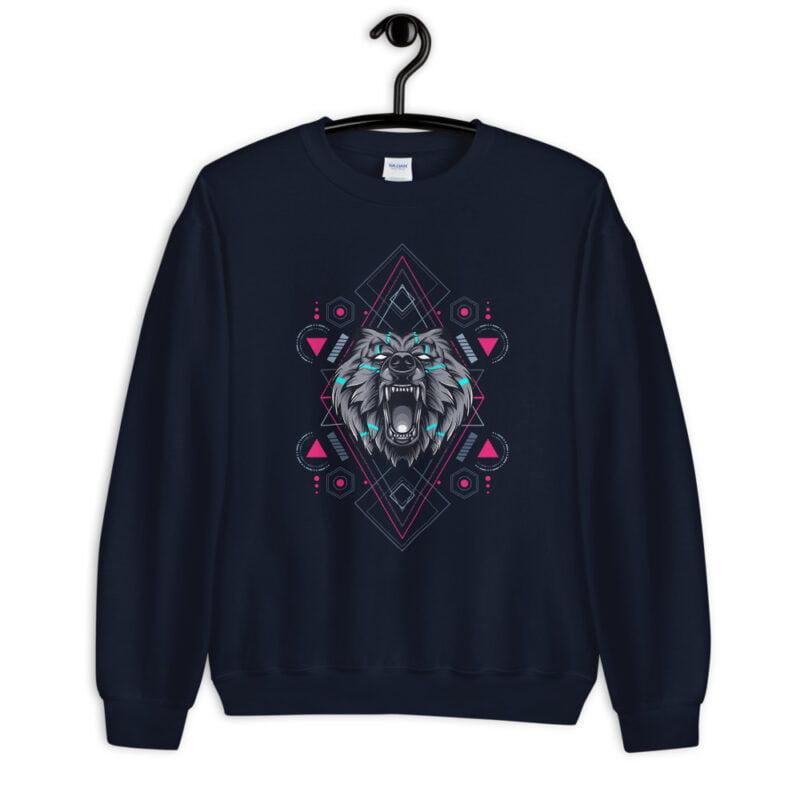Bear Geometry Design Unisex Sweatshirt navy