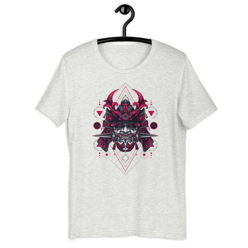 Oni Samurai Mask Geometry Art Unisex Short Sleeve Tee 9