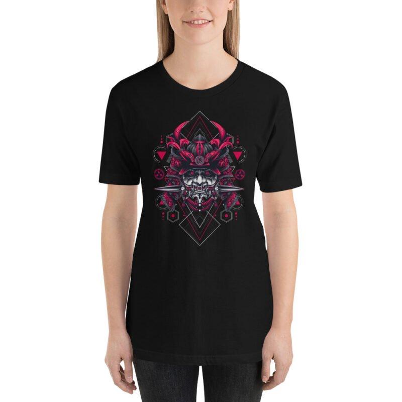 Oni Samurai Mask Geometry Art Unisex Short Sleeve Tee 8
