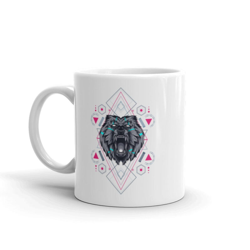 Bear Geometry Design White Glossy Mug 2