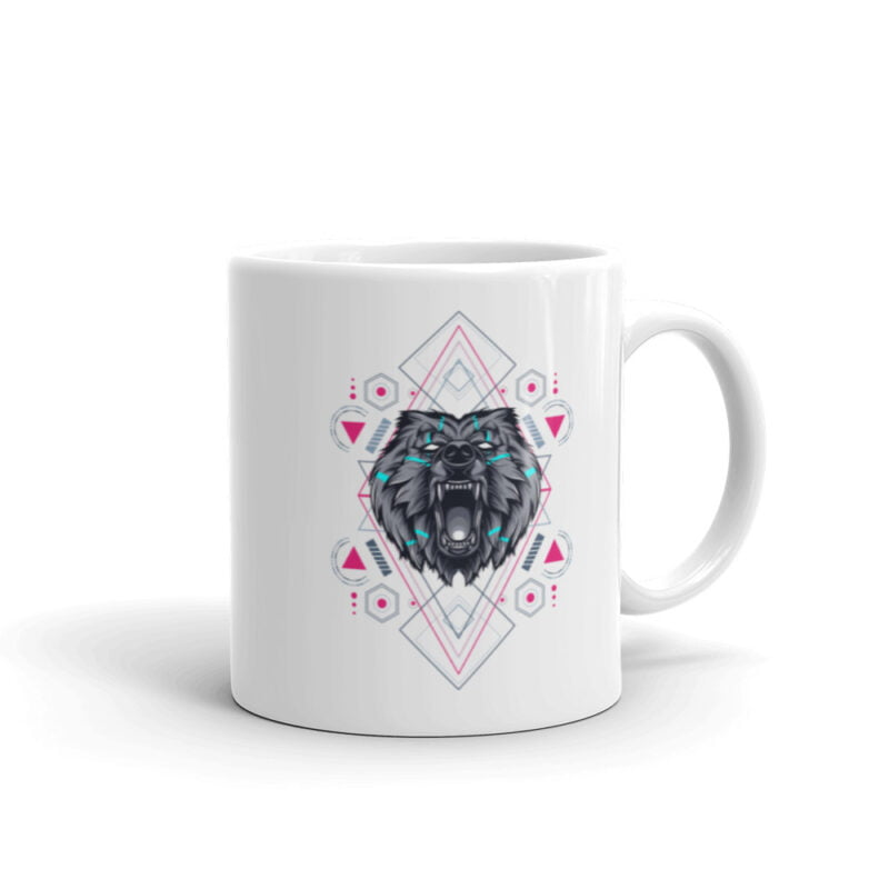 Bear Geometry Design White Glossy Mug 1