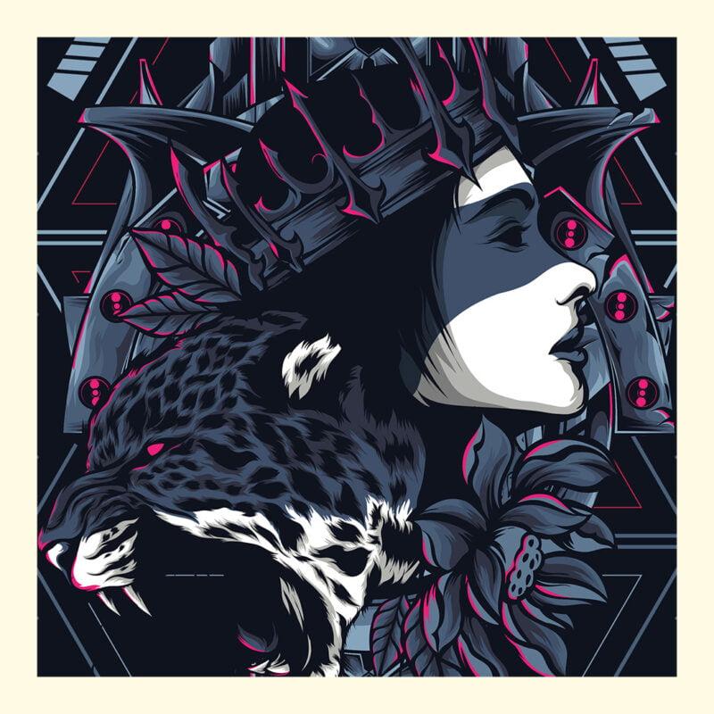 Cheetah Queen and Lotus Sacred Art Unisex T-Shirt 2
