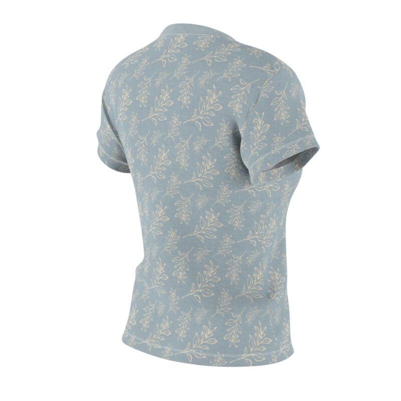 Heather Grey Floral Leaves Pattern Women's Cut & Sew Tee 5