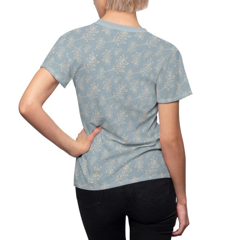 Heather Grey Floral Leaves Pattern Women's Cut & Sew Tee 6