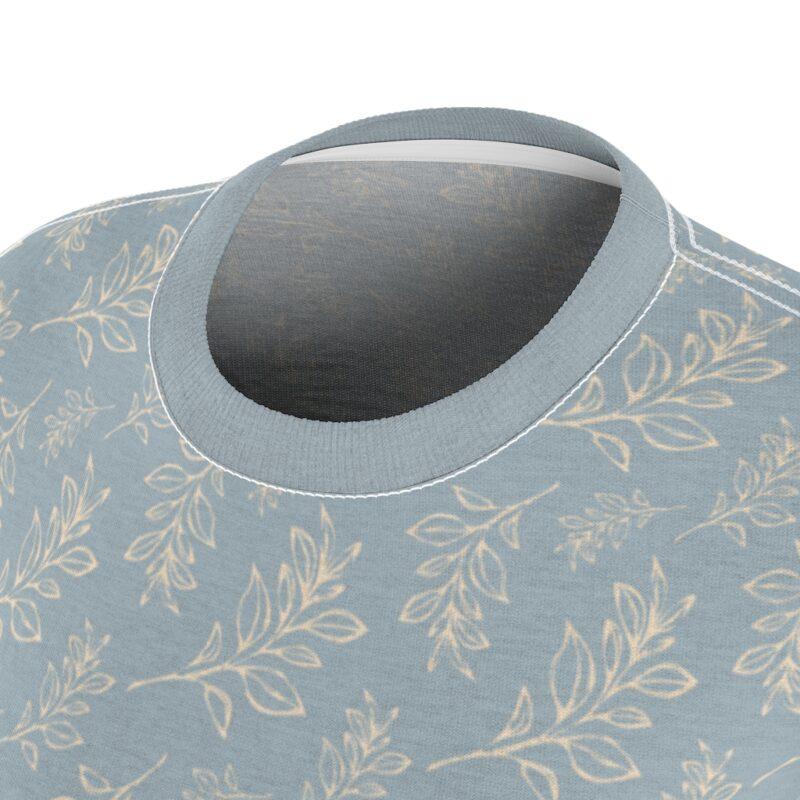 Heather Grey Floral Leaves Pattern Women's Cut & Sew Tee 7