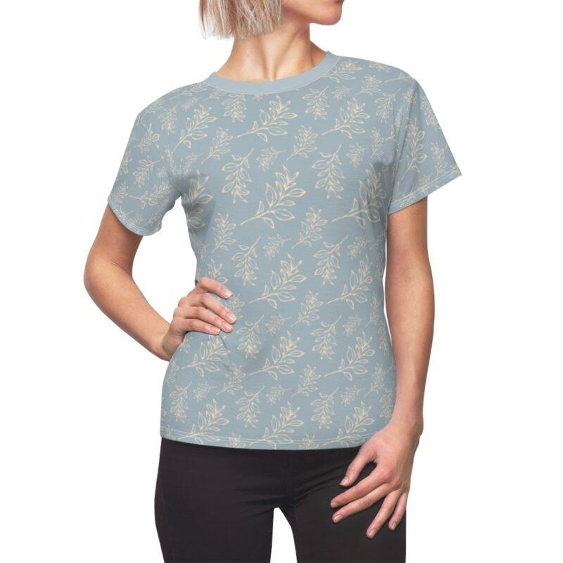 Heather Grey Floral Leaves Pattern Women's Cut & Sew Tee 1