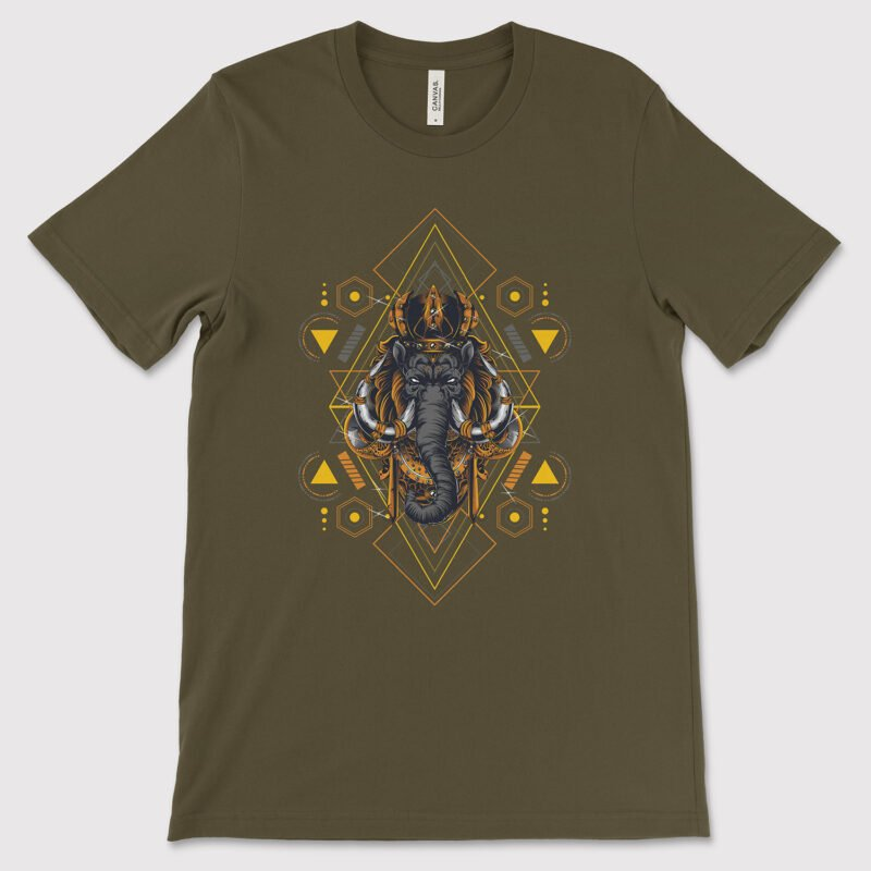 Mythical Mammoth Sacred Geometry Unisex Jersey Short Sleeve Tee Army olive