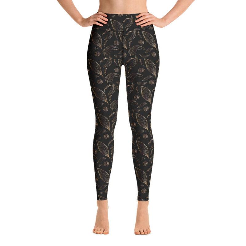 Botanical Black and Golden Floral Yoga Leggings 1