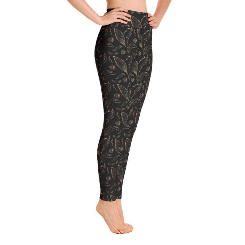 Botanical Black and Golden Floral Yoga Leggings 3