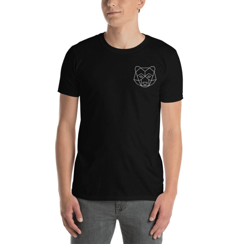 Bear Embroidered Short-Sleeve Black and Navy Unisex T-Shirt 3