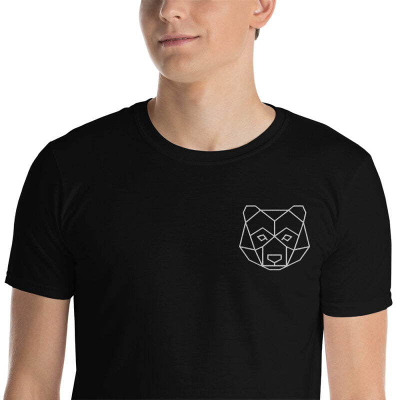 Bear Embroidered Short-Sleeve Black and Navy Unisex T-Shirt 1