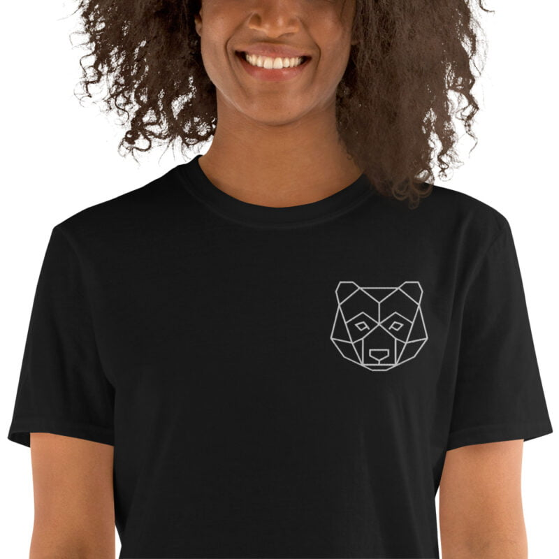 Bear Embroidered Short-Sleeve Black and Navy Unisex T-Shirt 2