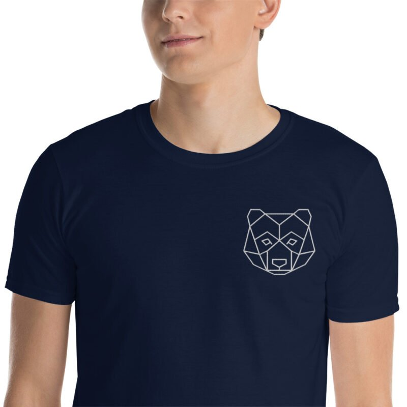 Bear Embroidered Short-Sleeve Black and Navy Unisex T-Shirt 4
