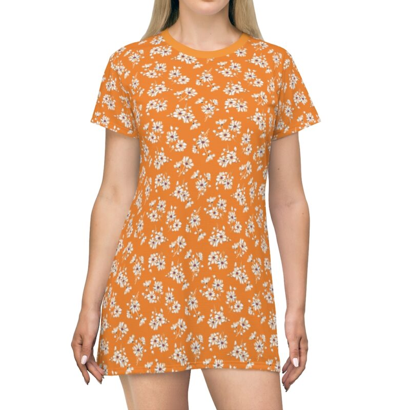 Mustard Ditsy Floral Shift Dress For Women 1