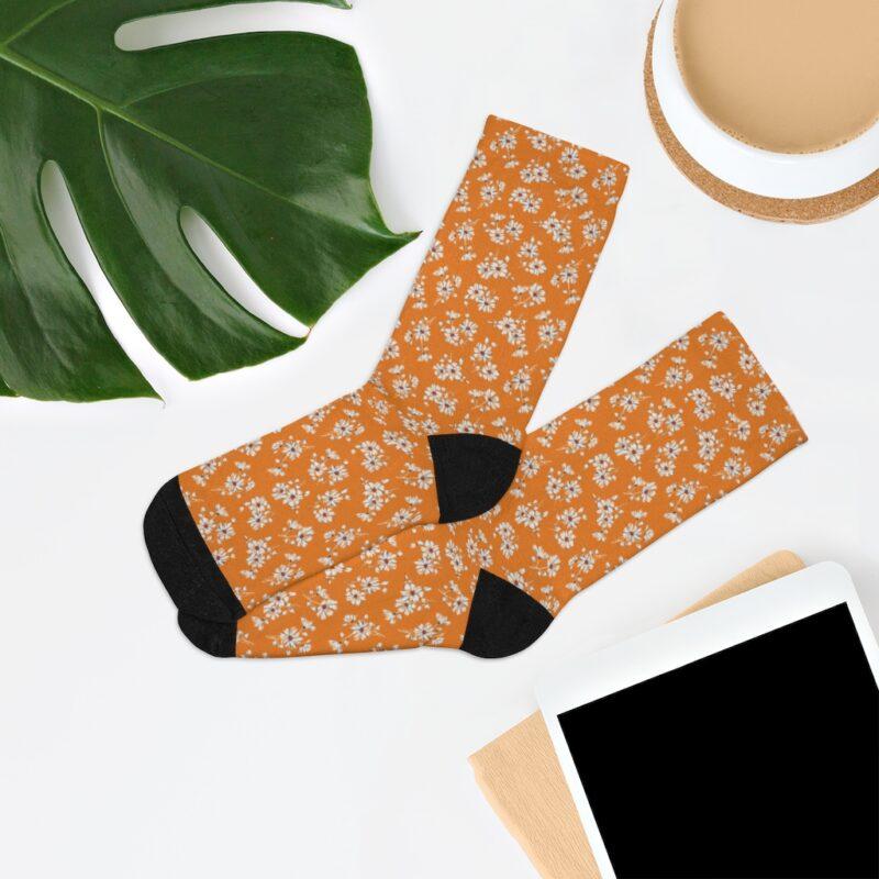 Mustard Ditsy Floral Socks 7