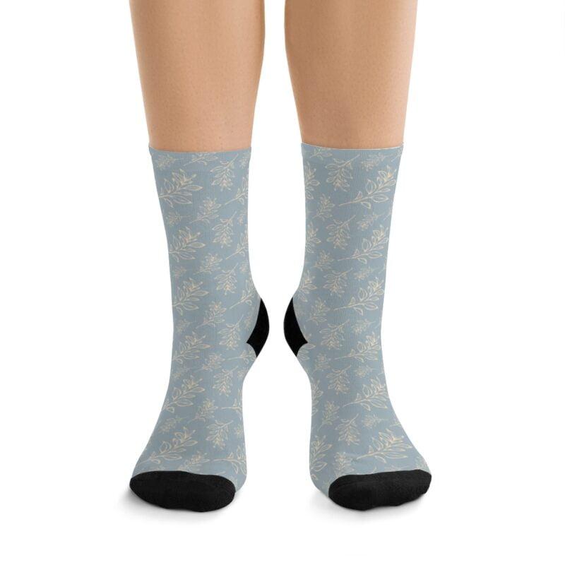 Grey Floral Leaves Pattern Socks 1