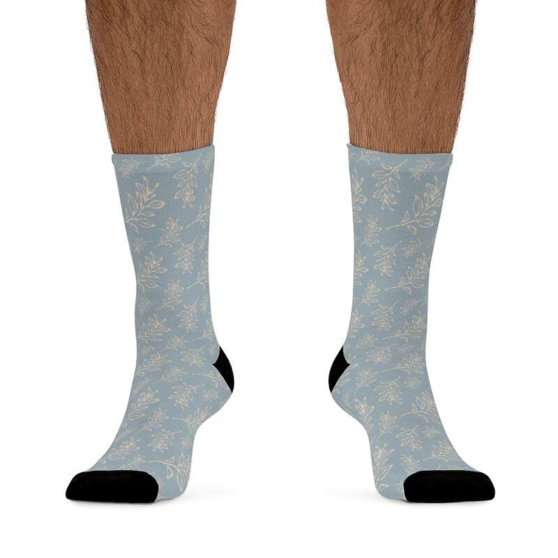Grey Floral Leaves Pattern Socks 3
