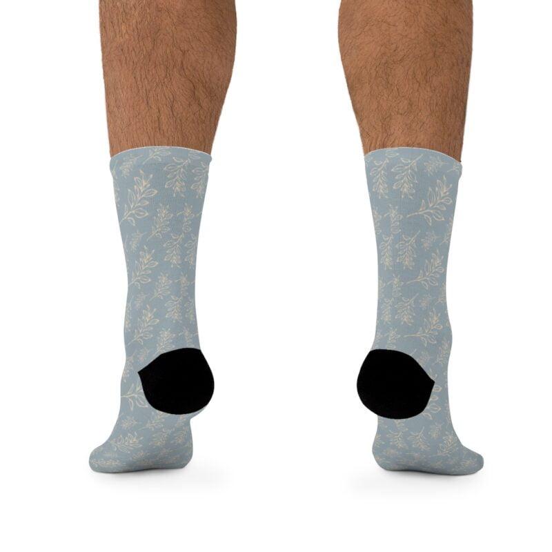 Grey Floral Leaves Pattern Socks 4