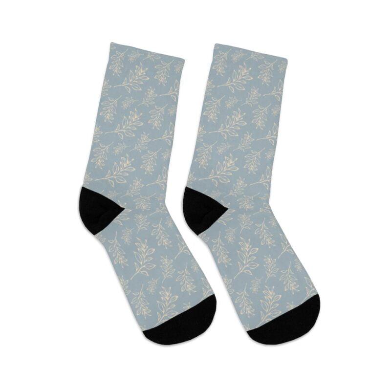 Grey Floral Leaves Pattern Socks 5