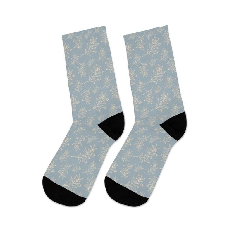 Grey Floral Leaves Pattern Socks 6