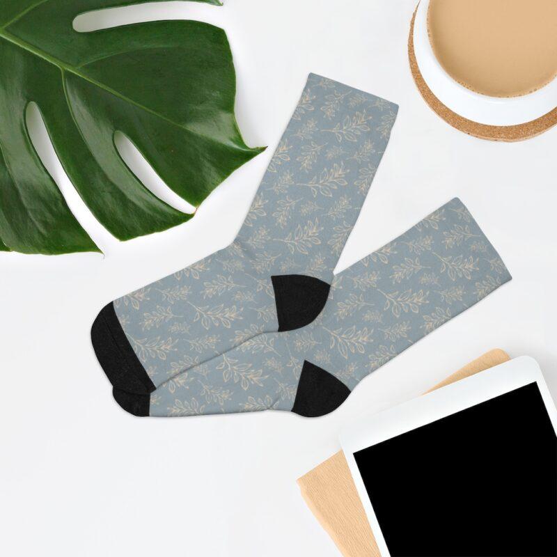 Grey Floral Leaves Pattern Socks 7