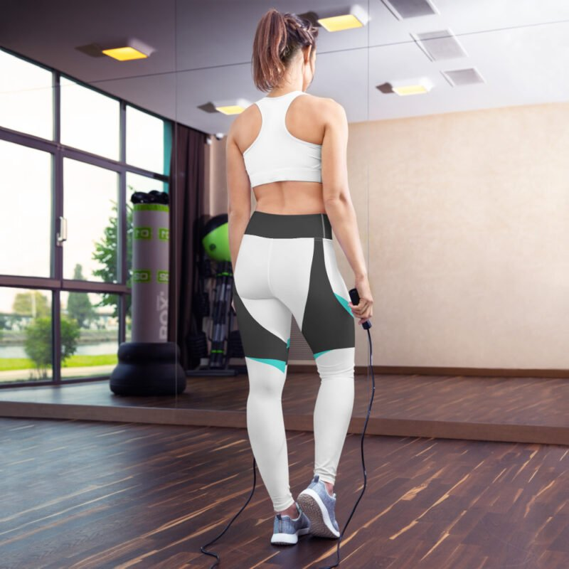 Grey and Aqua Yoga Leggings 3