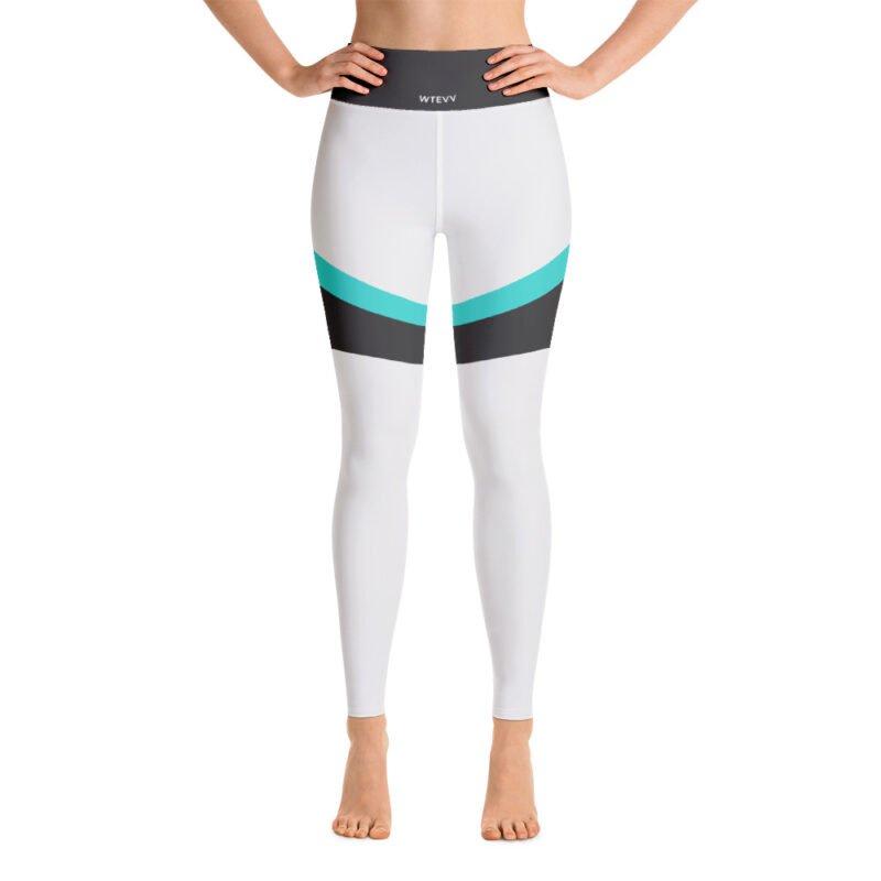 Grey and Aqua Yoga Leggings 2